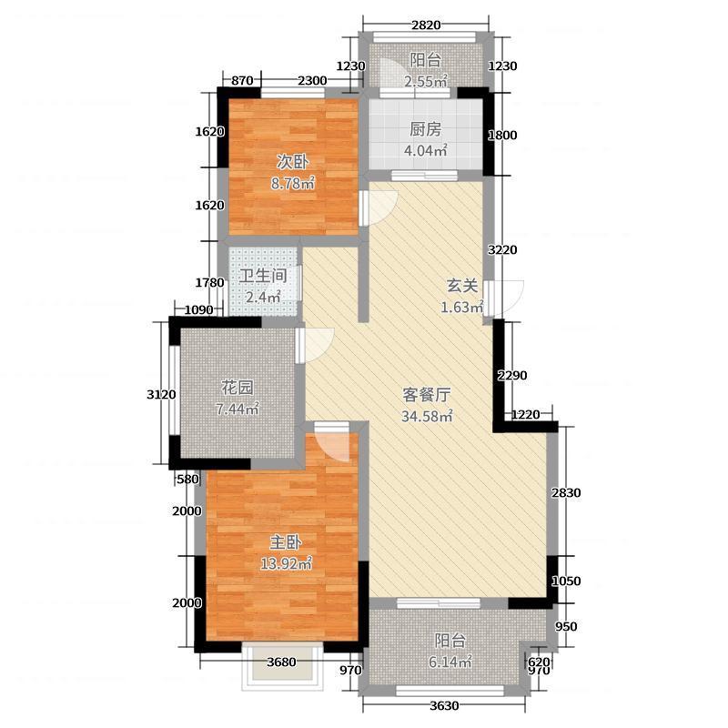 橡树玫瑰城99.00㎡J1户型2室2厅1卫1厨