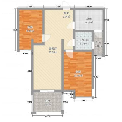 建设御景城邦2室2厅1卫1厨83.00㎡户型图