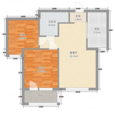 博圣・御府龙湾2室2厅1卫1厨74.00㎡户型图