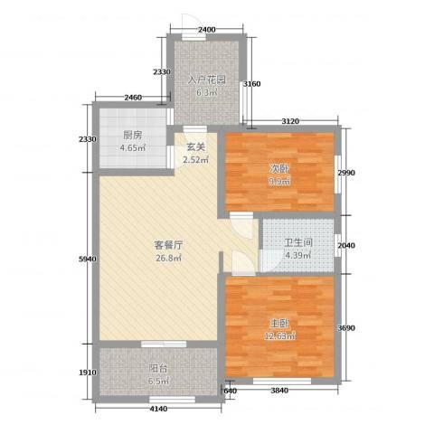天逸双水湾2室2厅1卫1厨89.00㎡户型图