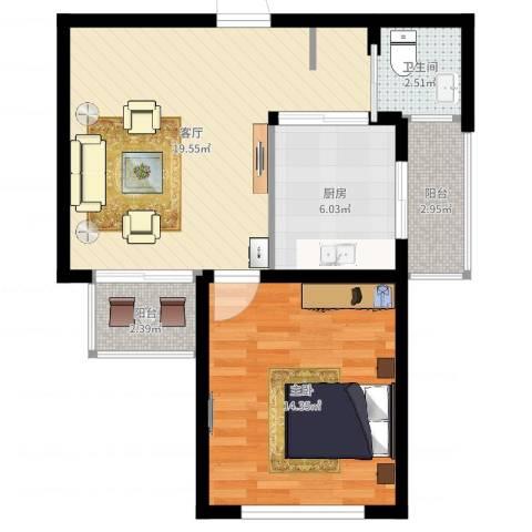 金硕河畔景园1室1厅1卫1厨60.00㎡户型图