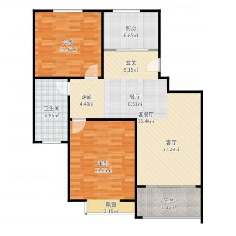 临港泥城苑2室2厅1卫1厨111.00㎡户型图