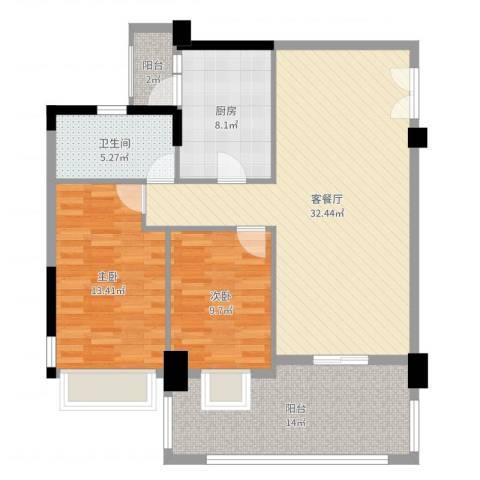 银湖山庄五期2室2厅1卫1厨106.00㎡户型图