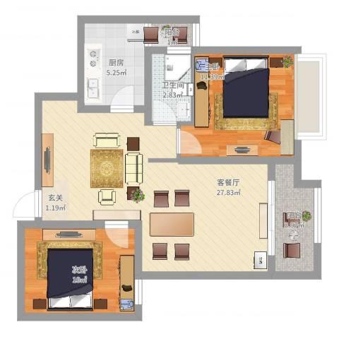 东方今典华庭2室2厅1卫1厨90.00㎡户型图