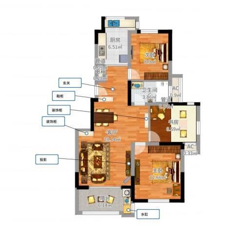 巴比伦国际广场3室1厅1卫1厨96.00㎡户型图