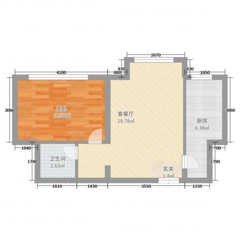 学府・未来城1室2厅1卫1厨66.00㎡户型图