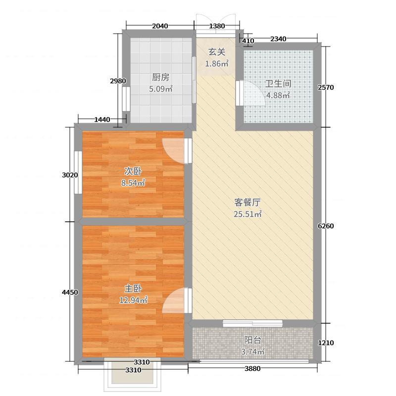 亿源东镇89.00㎡B2-89户型2室2厅1卫1厨