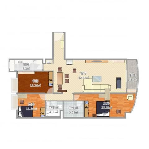珠江骏景3室1厅2卫1厨166.00㎡户型图