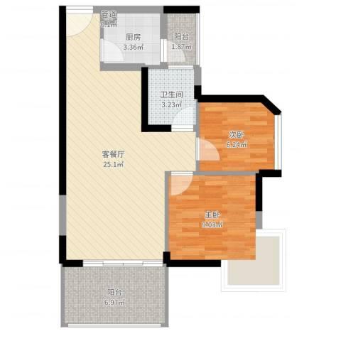 潜龙鑫茂花园2室2厅1卫1厨70.00㎡户型图
