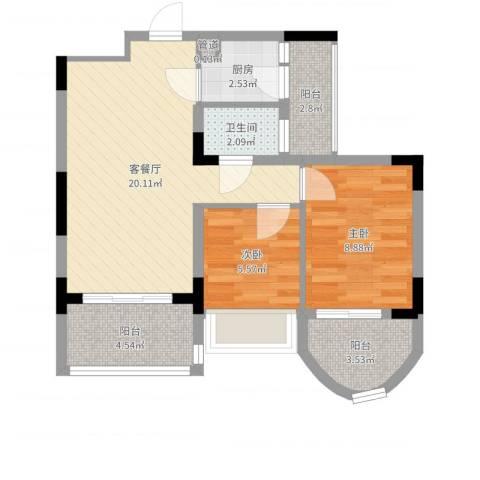 潜龙鑫茂花园2室2厅1卫1厨63.00㎡户型图