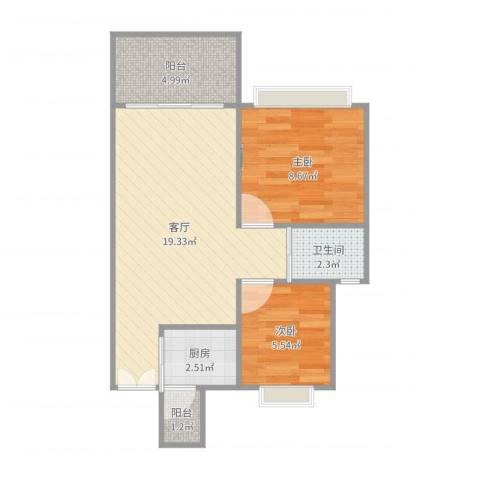 潜龙鑫茂花园2室1厅1卫1厨56.00㎡户型图