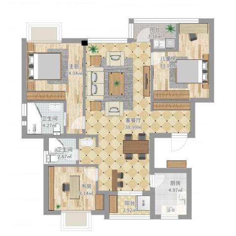 银河湾小区3室2厅2卫1厨133.00㎡户型图