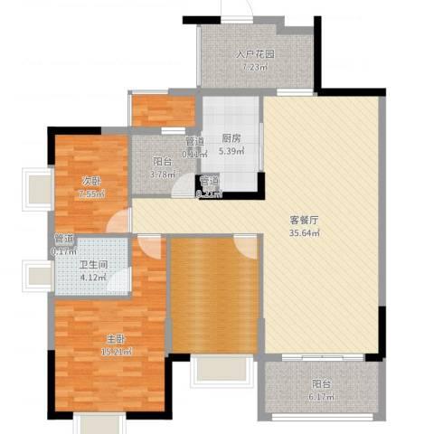 盛天龙湾2室2厅6卫1厨123.00㎡户型图