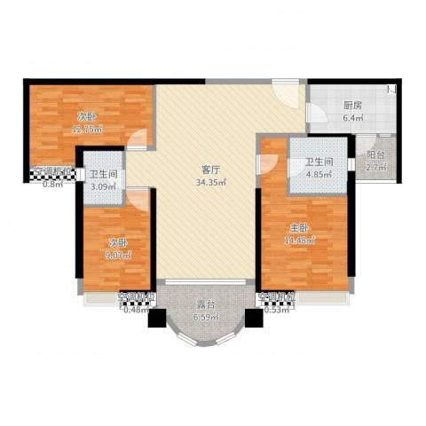 合生滨海城3室1厅2卫1厨120.00㎡户型图