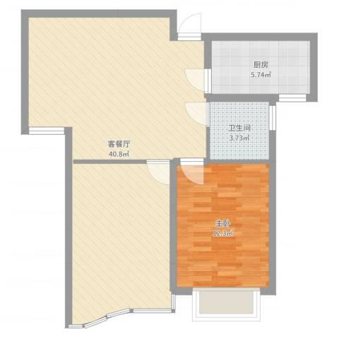 富都豪园1室2厅1卫1厨78.00㎡户型图
