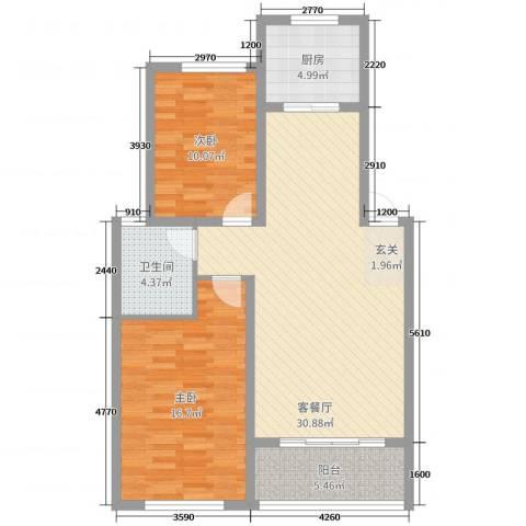 天工颐园三期2室2厅1卫1厨90.00㎡户型图
