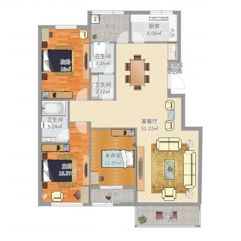 常青藤小城2室2厅3卫1厨174.00㎡户型图