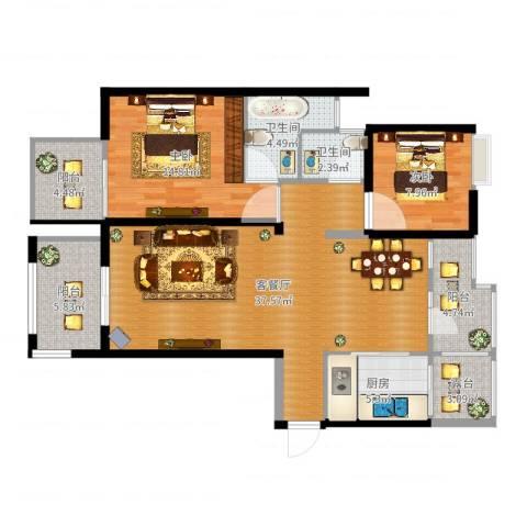 丰源美佳别墅2室2厅2卫1厨113.00㎡户型图