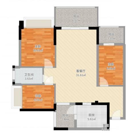 忠信春满园3室2厅2卫1厨99.00㎡户型图