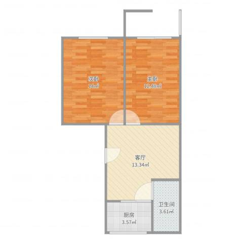 蔷薇八村2室1厅1卫1厨59.00㎡户型图