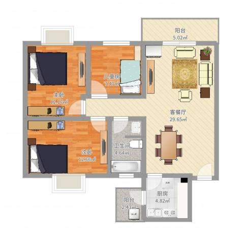 龙祥佳苑3室2厅1卫1厨114.00㎡户型图