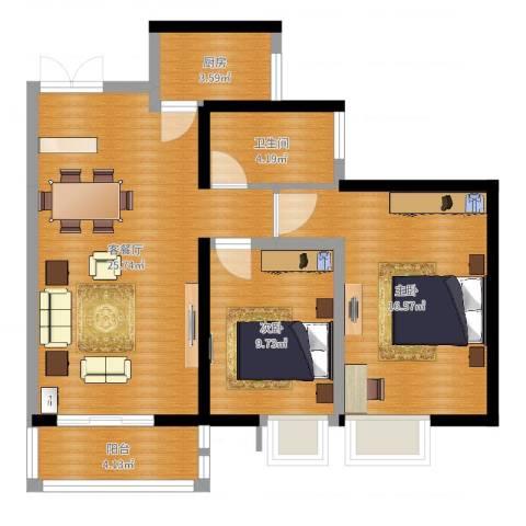 太乙城2室2厅1卫1厨80.00㎡户型图