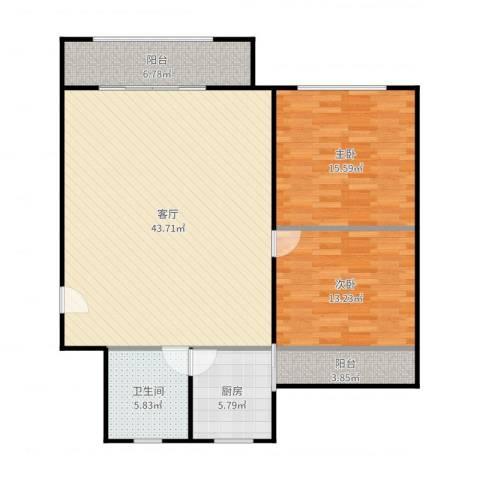 金虹苑2室1厅1卫1厨118.00㎡户型图