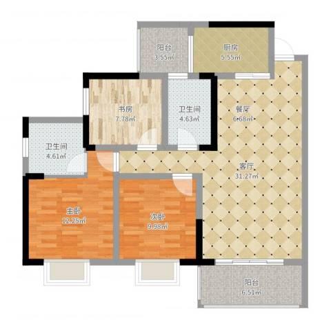御廷上郡3室1厅2卫1厨99.00㎡户型图