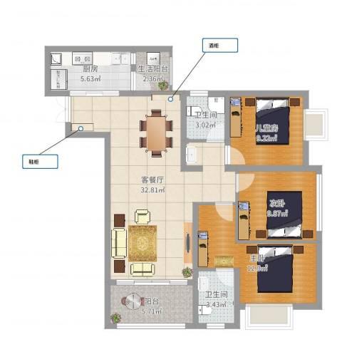 富洲新城户型84²3室2厅3卫1厨106.00㎡户型图