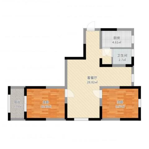 贾西新苑2室2厅1卫1厨75.00㎡户型图