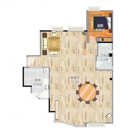 国美第一城Ⅱ1室2厅1卫1厨121.00㎡户型图
