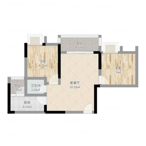 泽瑞琥珀天成2室2厅1卫1厨63.00㎡户型图