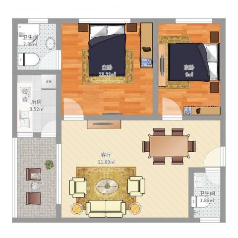 华侨城2室1厅2卫1厨72.00㎡户型图