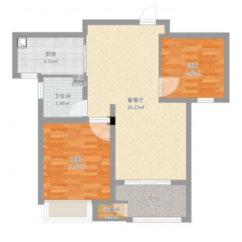 新城域2室2厅1卫1厨77.00㎡户型图