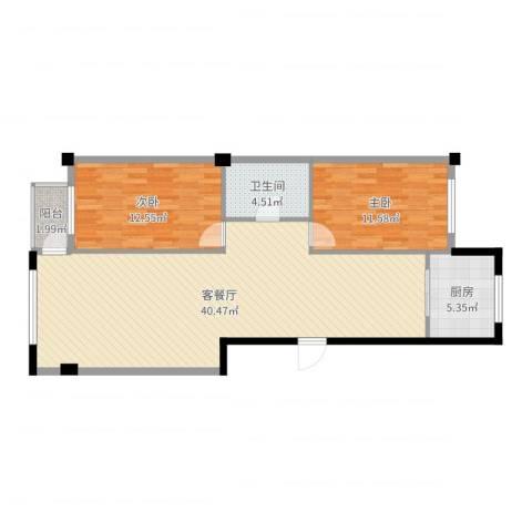 八一新居2室2厅1卫1厨96.00㎡户型图