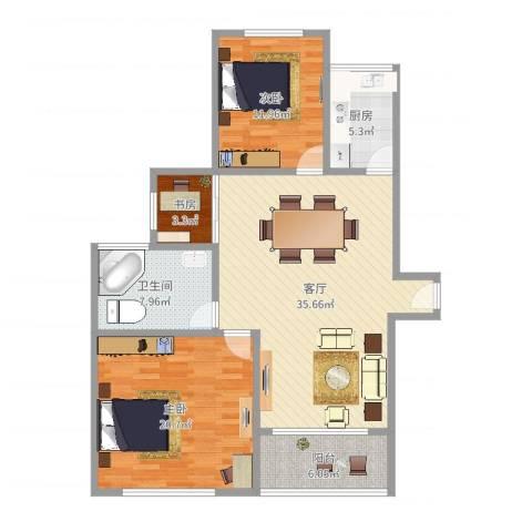 浦发香舍3室1厅1卫1厨114.00㎡户型图