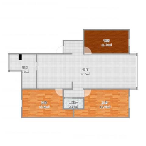 文昌苑3室1厅1卫1厨117.00㎡户型图