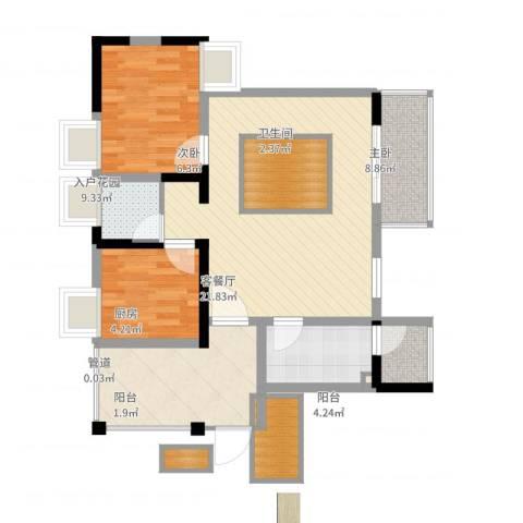 阳光棕榈园2室2厅1卫1厨83.00㎡户型图