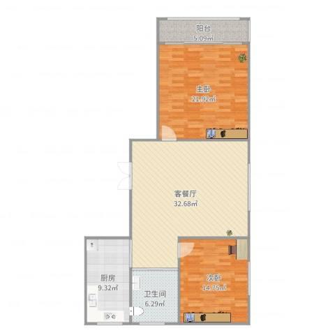 紫薇园2房92平3号16082室2厅1卫1厨113.00㎡户型图