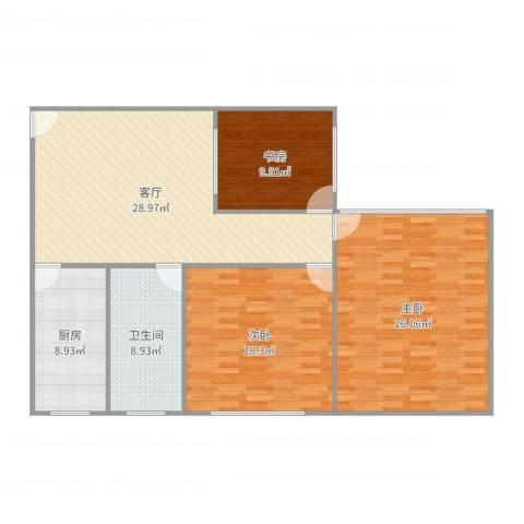 兴都大楼3室1厅1卫1厨126.00㎡户型图