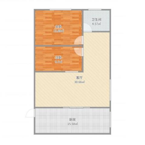 杨王职工公寓2032112室1厅1卫1厨93.00㎡户型图