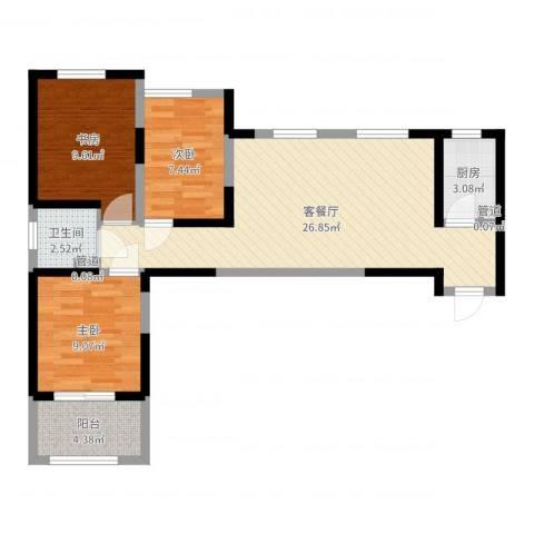 天朗大兴郡3室2厅1卫1厨79.00㎡户型图