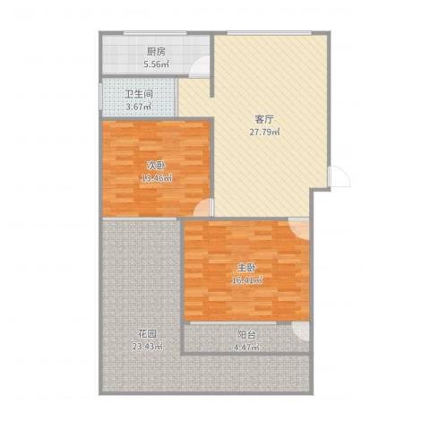东陆新村六街坊2室1厅1卫1厨118.00㎡户型图
