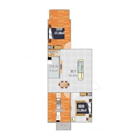 龙腾苑三区2室1厅1卫1厨103.00㎡户型图