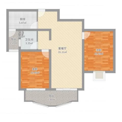 中虹汇之苑2室2厅1卫1厨96.00㎡户型图