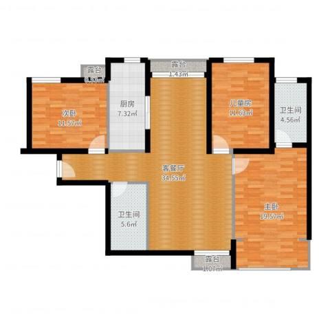 天朗大兴郡二期瀚苑3室2厅2卫1厨122.00㎡户型图