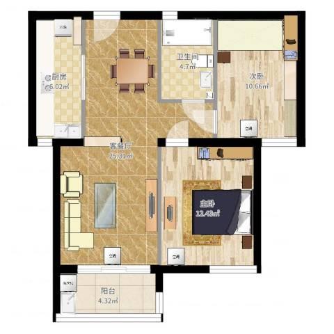 铭和苑2室2厅1卫1厨79.00㎡户型图