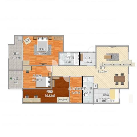 北卫新园3室1厅2卫1厨109.75㎡户型图