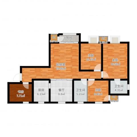 钱隆学府4室1厅2卫1厨127.00㎡户型图