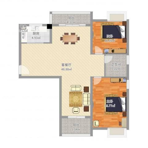 金湖湾墅园2室2厅1卫1厨124.00㎡户型图